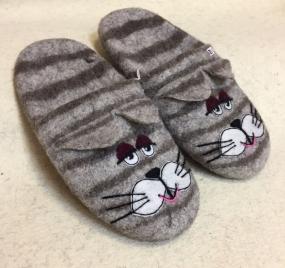 Тапочки валяные «Серый кот»