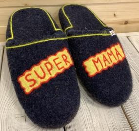 Тапочки валяные «Супер Мама»