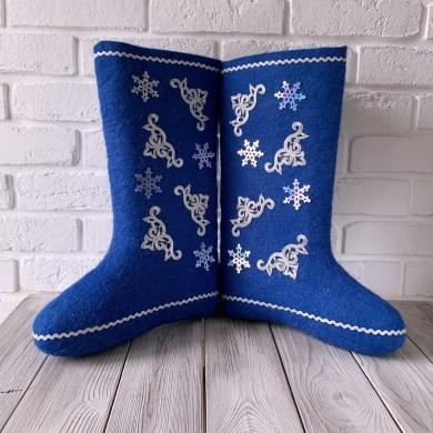 Валенки Деда Мороза синие