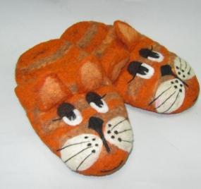 Тапочки валяные «Рыжий кот»
